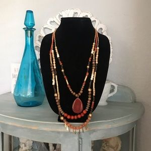 Chico's Beaded 3 Strand Necklace